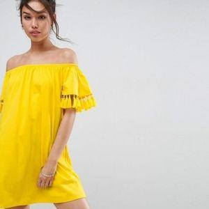 ASOS PETITE Ylw Off The Shoulder Mini Dress - 10